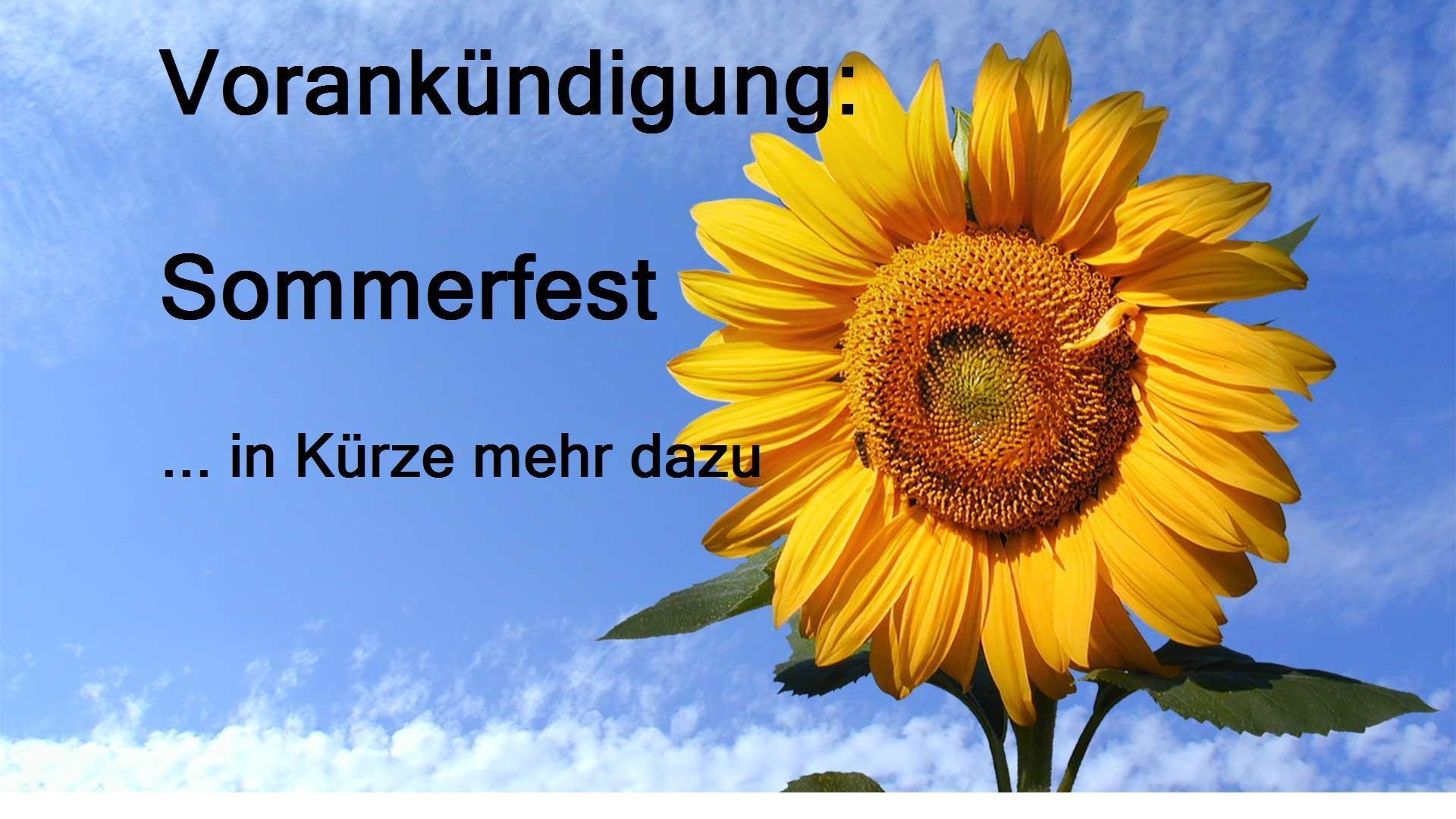 Vorankündigung Sommerfest 2016